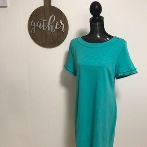 NWT Talbots aqua dress with button details